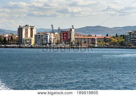 Canakkale Turkey - October 31 2016: View of embankment. Asian side of Canakkale on coast of the Dardanelles