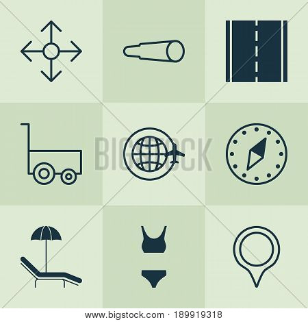Travel Icons Set. Collection Of Direction Arrows, Bathing Costume, Photo Camera And Other Elements. Also Includes Symbols Such As Sea, Chart, Marker.