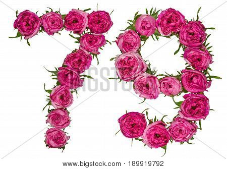 Arabic Numeral 79, Seventy Nine, From Red Flowers Of Rose, Isolated On White Background