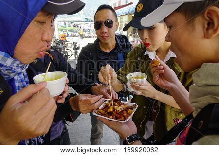 Street Foods At Local Market In Hong Kong