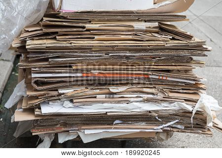Big Pile of Cardboard and Paper Material For Recycling