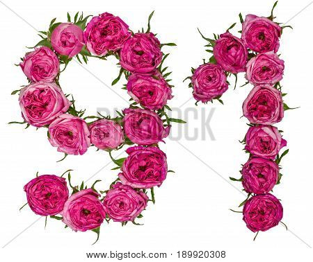 Arabic Numeral 91, Ninety One, From Red Flowers Of Rose, Isolated On White Background