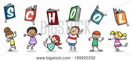 Many happy cartoon children with books spelling School over their heads