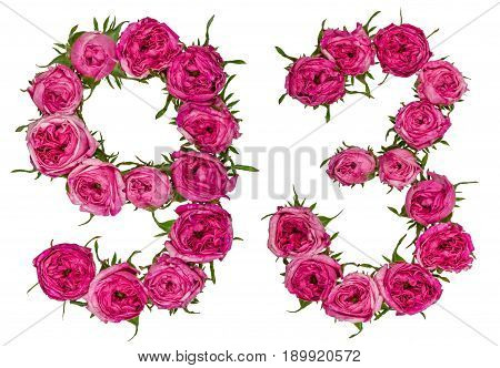 Arabic Numeral 93, Ninety Three, From Red Flowers Of Rose, Isolated On White Background