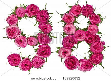Arabic Numeral 98, Ninety Eight, From Red Flowers Of Rose, Isolated On White Background