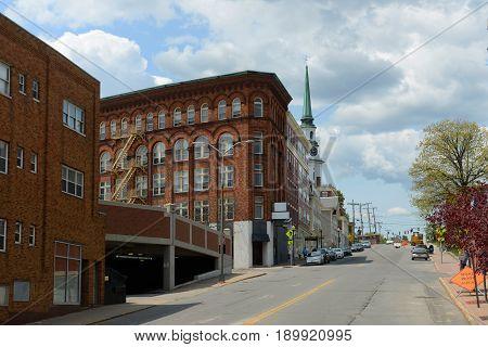 BANGOR, ME, USA - MAY 20, 2016: Historic Blocks at Hammond Street in downtown Bangor, Maine, USA.