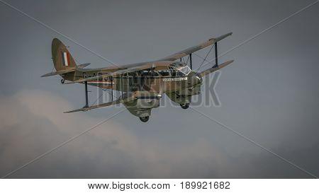 Biggleswade UK - 7th May 2017: Vintage De Haviland Dragon Rapide in flight