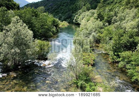 rapid in the Cetina river in Croatia poster