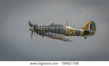 Biggleswade UK - 7th May 2017: Vintage Hawker Hurricane in flight