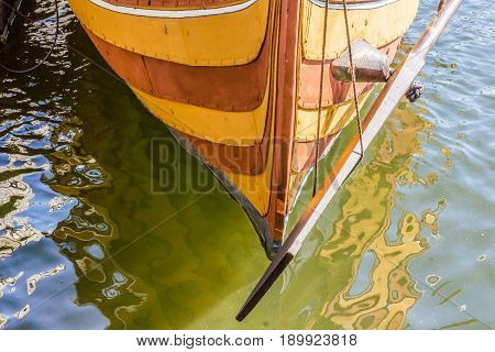 Stern and rudder of the viking ship Helge Ask. Reconstruction of a smaller warship from 1040. Roskilde Denmark May 26 2017