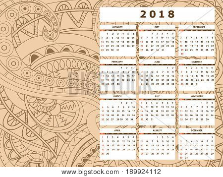 Business english calendar for wall on year 2018 on the gradient background with hand drawn tangle zen pattern. Week starts on Sunday. eps 10