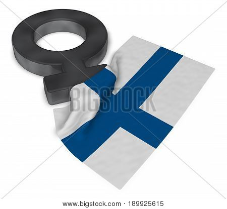 female symbol and flag of finland - 3d rendering