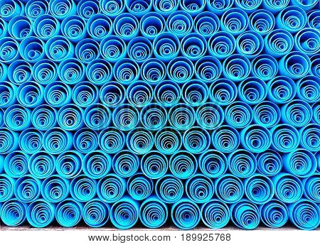 PVC water pipes stacked in container,Blue PVC pipe, PVC pipe for water.