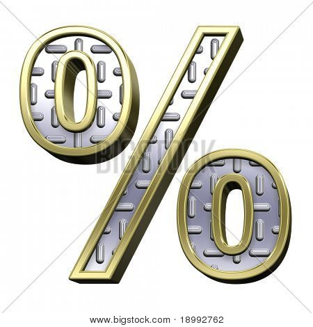 Percent sign from steel tread plate with gold frame alphabet set, isolated on white. Computer generated 3D photo rendering.