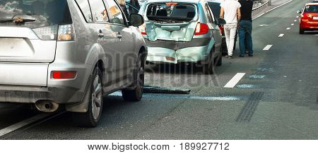 group car accident in the town highway