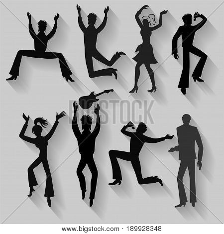 Full length front view flat lay long shadow colored grope of artists (dancers singers musicians). Vector illustration