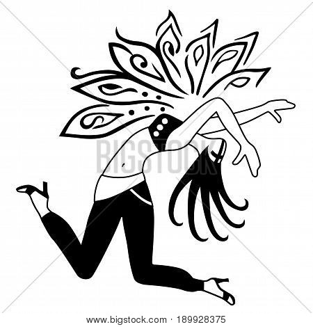 Full length front view dancing girl. Vector illustration