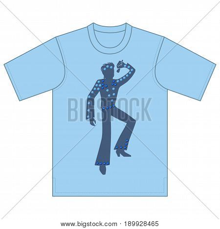 Full length front view of singer man performances tshirt design. Vector illustration isolated on white background