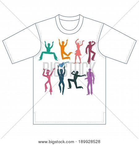 Full length front view grope of colored artists (dancers singers musicians) isolated on white background tshirt design. Vector illustration