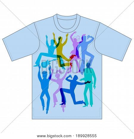 Full length front view grope of grey artists (dancers singers musicians) isolated on white background tshirt design. Vector illustration