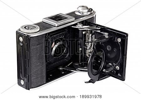 retro old photo camera on white background. without lens