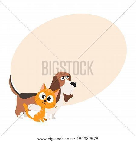 Basset hound dog and red cat, kitten characters, pets, friendship concept, cartoon vector illustration with space for text. Basset hound dog and red cat characters, friends