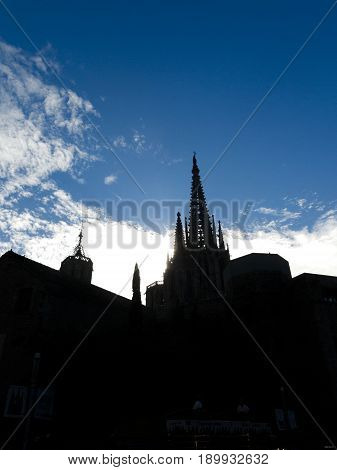 Silhouette Of The Belfry Of The Cathedral Of Barcelona