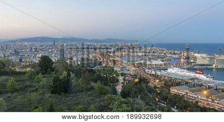 Barcelona Skyline Panorama At The Blue Hour. Spain