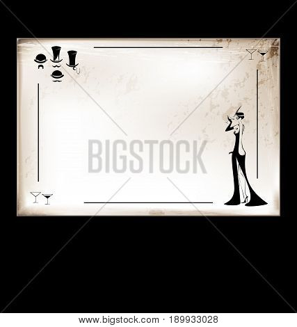 dark background, vintage beige-colored card with drinking rfetro lady