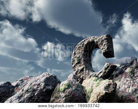 letter c rock under blue sky - 3d illustration