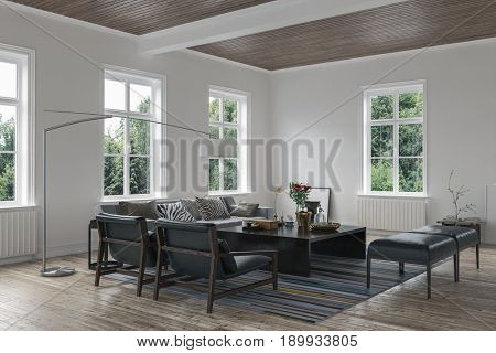 Scandinavian style living room interior with couch in a cottage. 3d Rendering.