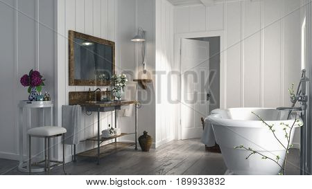 Stylish modern bathroom in a wood panelled house with a rustic old wooden floor, oval bathtub and simple vanity with mirror lit by sunlight. 3d rendering