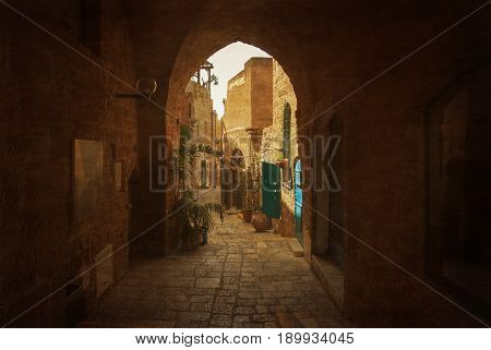 Narrow street in Old Jaffa which is one of the most ancient port cities in the world, Israel