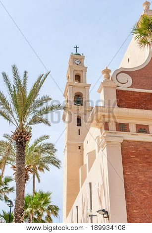 St. Peter's Church. The bell tower with clock of the Church. Jaffa, Israel