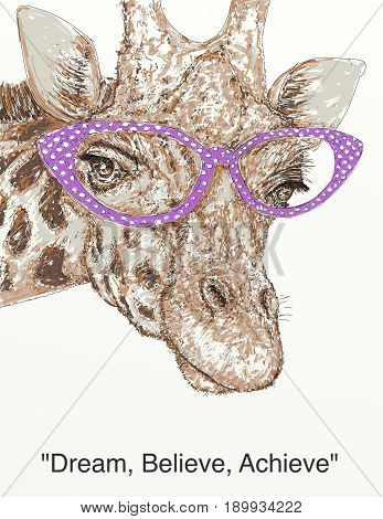 The nose of a giraffe 50's with pink glasses
