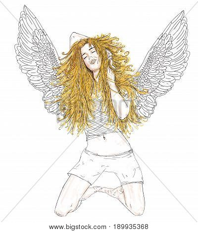 Angel blonde woman kneeling with open wings.
