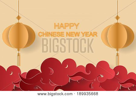 happy chinese new yearpaper art backgroung vector