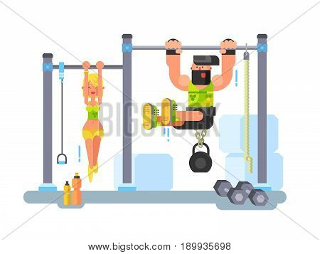 Man and woman fitness. Sport training, exercise workout, gym vector illustration