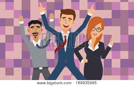 Excited and Happy Business People with Raised Arms. Successful Business People Illustration Vector.