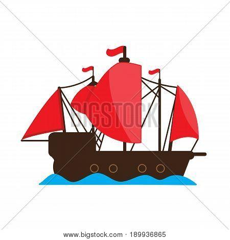 Chinese junk ship . vector cartoon design.