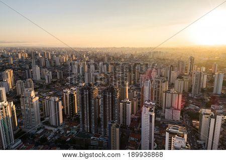City Skyline Skyscrapers - Aerial View