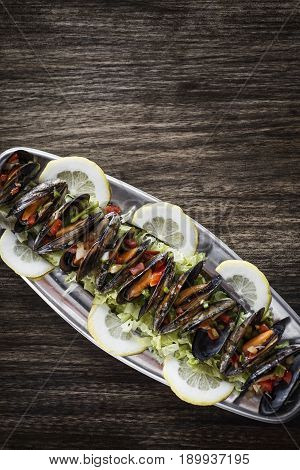 mussels in fresh zesty marinated citrus vegetable sauce seafood tapas snack