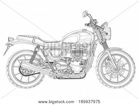 Motorcycle vector, monochrome, black and white sketch, coloring book. Black outline drawing motorbike half-face with many details on a white background