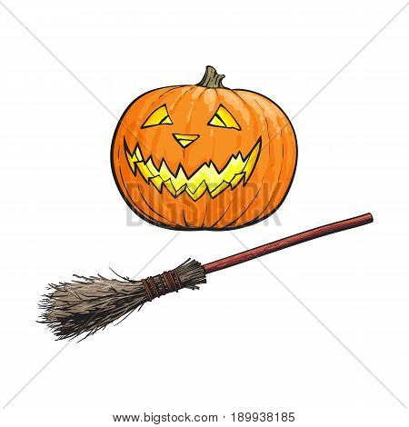 Hand drawn Halloween symbols - pumpkin jack o lantern and old twog broom, sketch vector illustration isolated on white background. Sketch style Halloween pumpkin, jack o lantern and witch broom