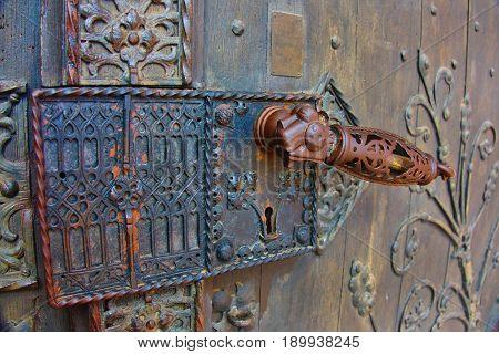Antique door handle of Rochuskapelle in Bingen