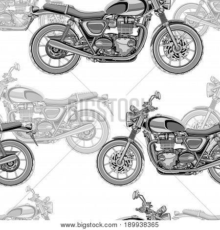 Motorcycle seamless pattern, vector background. Monochrome illustration. Black and white motorcycles with many details on a white background. For wallpaper design, fabric, wrappers, decorating