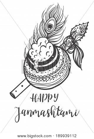 Ornament card with Lord Shri Krishna birthday. Illustration in vector art. Happy Janmashtami Day Hindu. Vedic Feast India. Use for banners, card, wallpaper, print. Cartoon little baby krishna image. Inscription  lettering