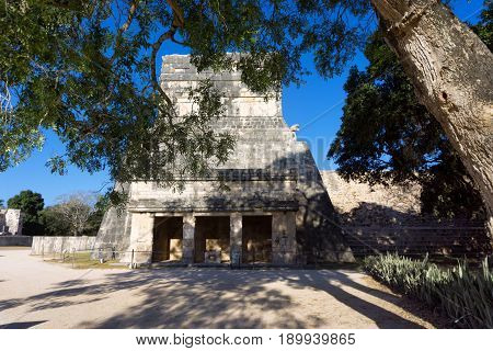 View of the temple of the jaguars in the Mayan ruins of Chichen Itza in Mexico