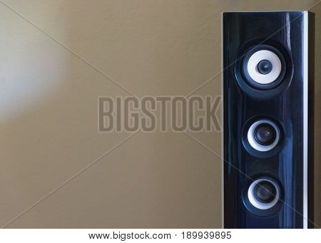 Black and white loudspeaker.Acoustic sound concept with copy space.