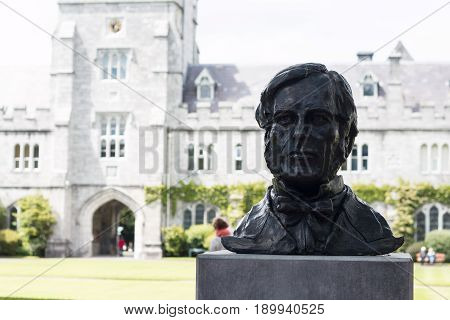 June 6th, 2017, Cork, Ireland - Cork College University,  bust of George Boole, the first Professor of Mathematics in UCC whose algebra became the foundation of modern computer science.